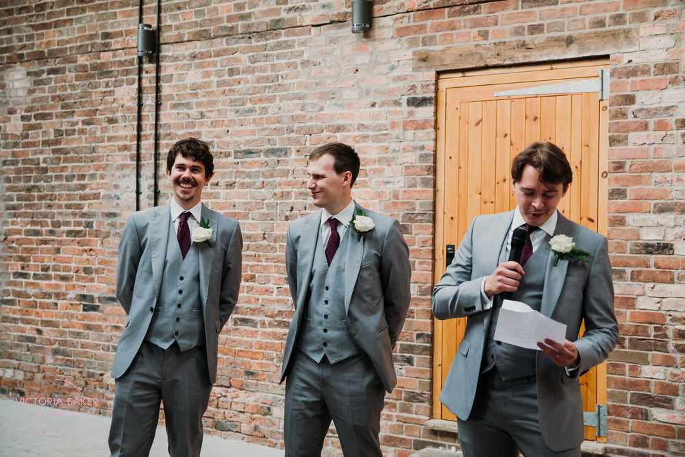 Best men speechat Barmbyfield Barn | Creative Yorkshire Wedding Photographer