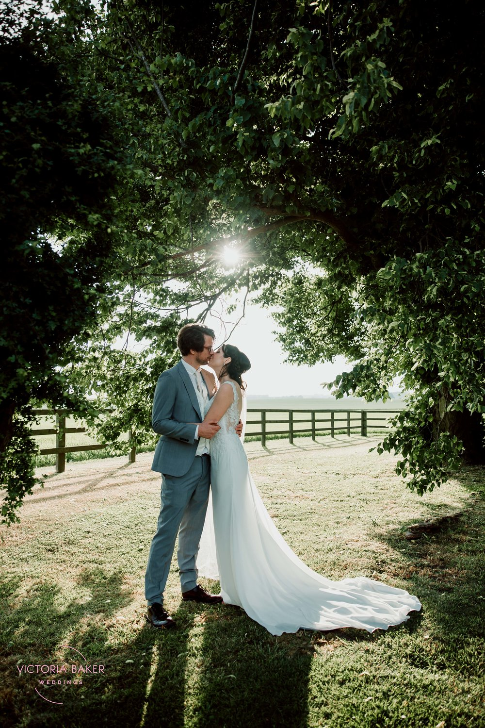 Bride and Groom at Golden Hour at Barmbyfield Barn | Creative Yorkshire Wedding Photographer