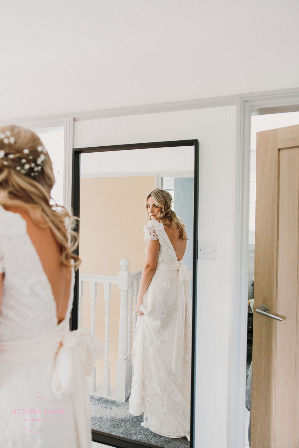 Bride in mirror Emily & Adam Woodland Sheffield Wedding