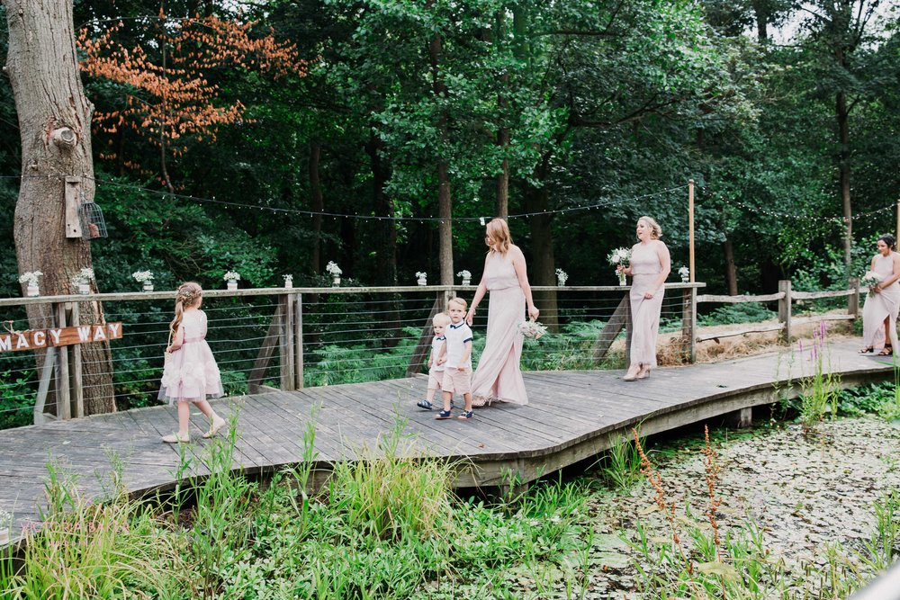 Walking down the woodland aisle Sheffield Wedding