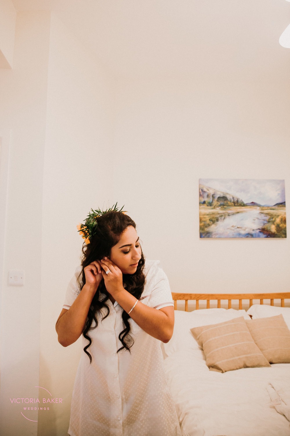 Bride getting ready at Kilnsey Park Estate Wedding Photography