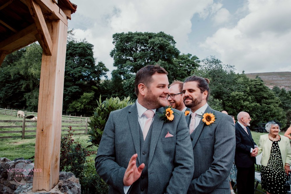 Groom seeing bride at Kilnsey Park Estate Wedding Photography