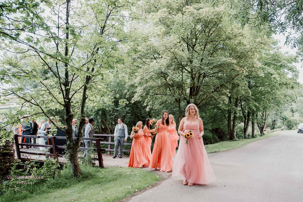 Wedding procession at Kilnsey Park Estate