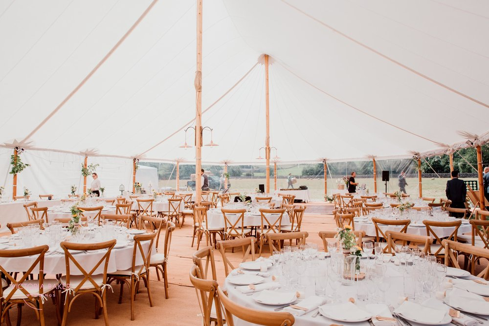 Wedding decoration marquee at Kilnsey Park Estate