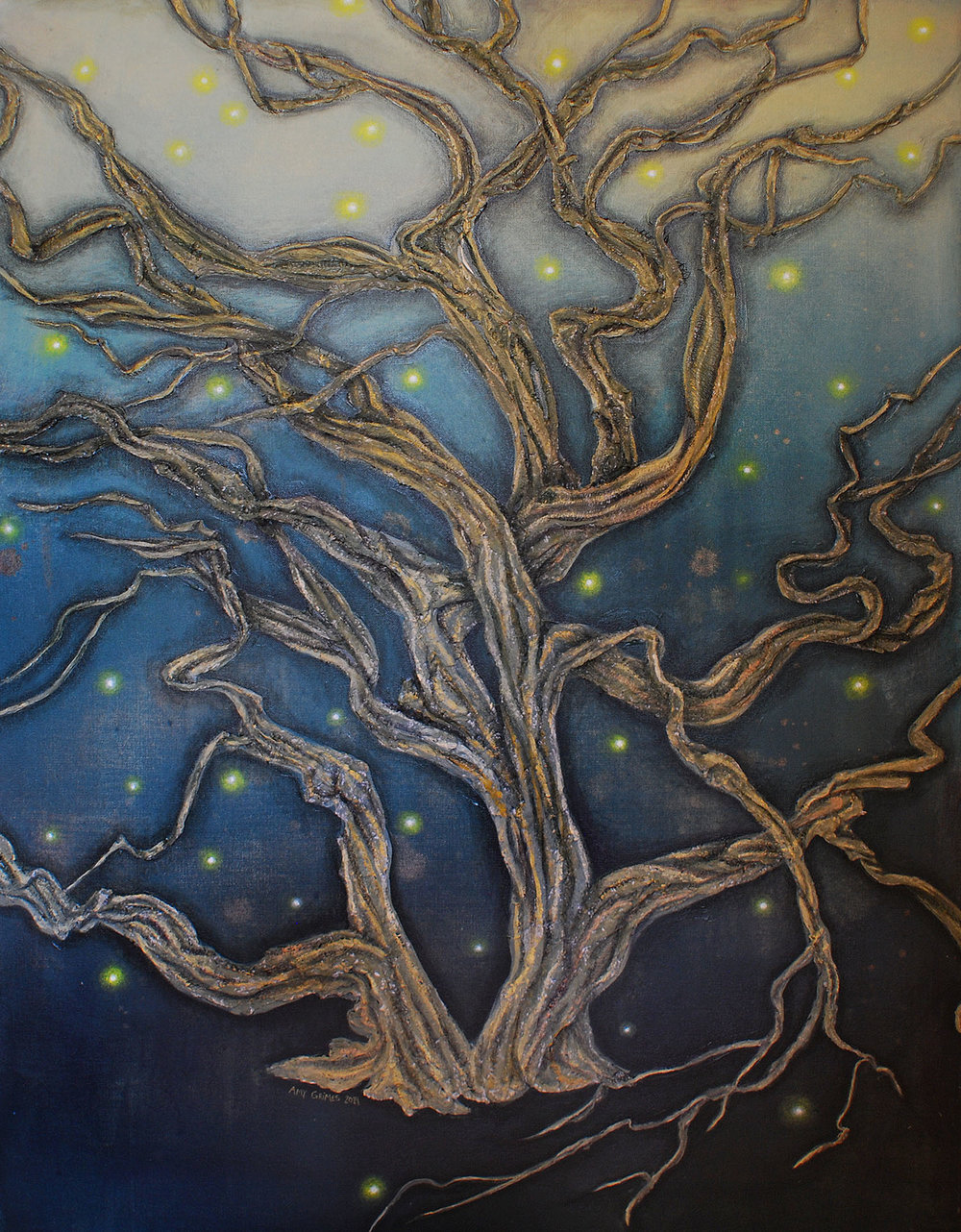 GLOW 30X40 Mixed-Media   Acrylic on Gallery Canvas  $850.00 + Shipping & Tax (if applicable)  Contact For Purchase   The lights in this tree are stubborn. They insist on burning their low, steady light in celebration of life. Life—with its green, growing hope. The lights won't wait for blades of grass to reach up from the ground. They won't wait for leaves to dot the branches of the twisty tree or for the sun to break through the gloom. They celebrate now—in the hazy darkness—because they know that dawn is coming.