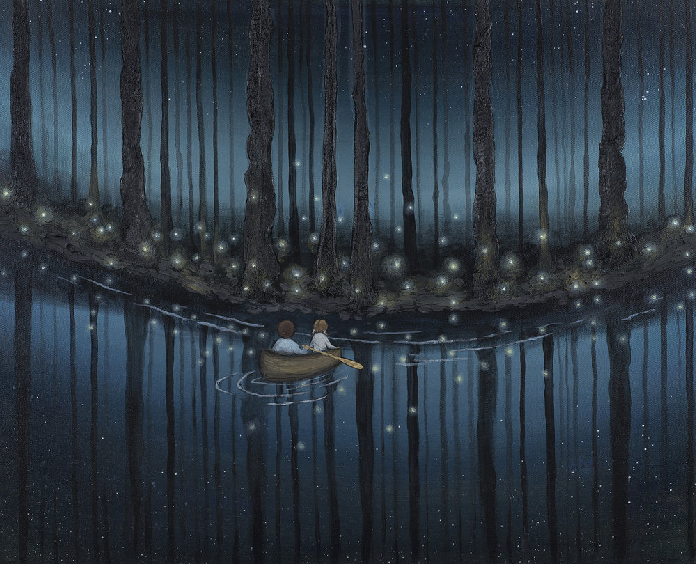 DRAWING NEAR   24X30 Acrylic on Gallery Canvas  SOLD  Have you ever seen fireflies lighting up one bit of woods while the rest of the forest remains dark? I wonder what draws them to one place over another? The two children in this painting are drawing near to just such a spot. A point of land across the water is lit up like Fairyland. It has called them to come and explore. The night is dark but their eyes are fixed on the lights ahead. What will they find when they set foot in that sparkling place?