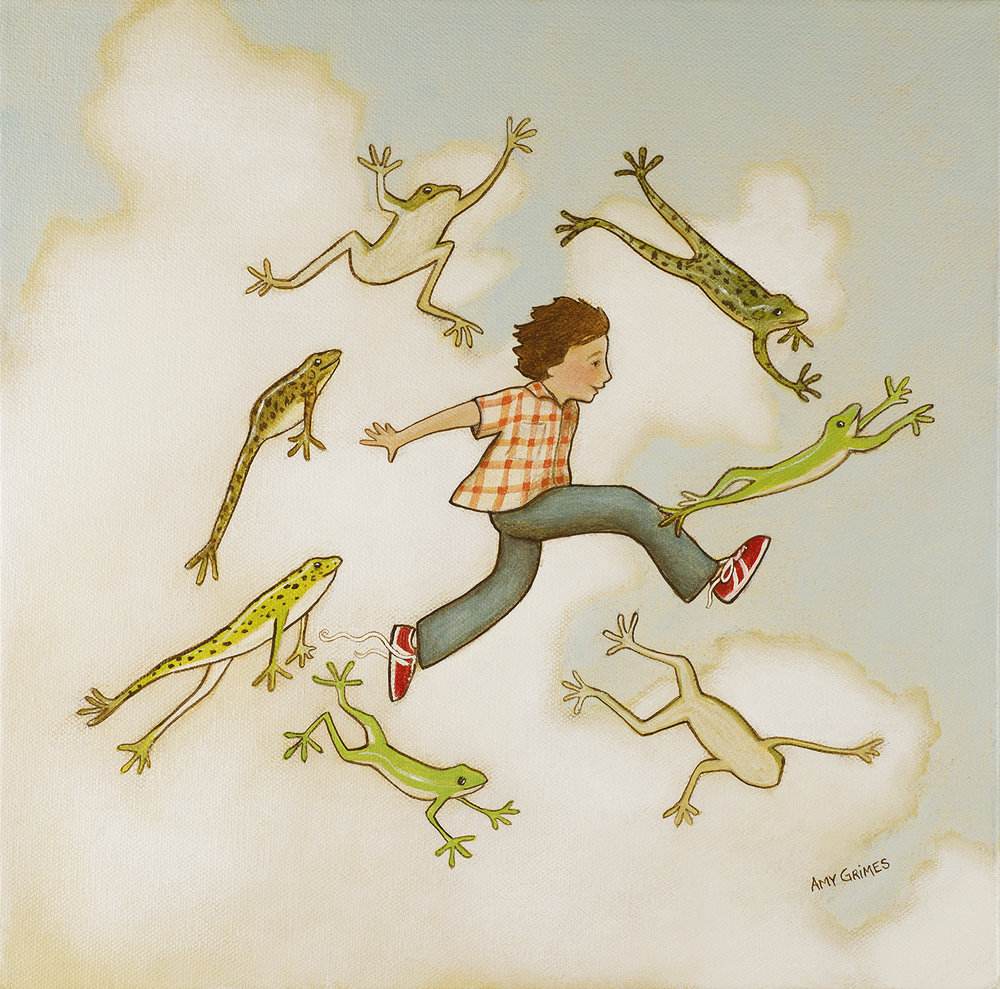 LEAP WITH THE FROGS  12X12   Acrylic on Gallery Canvas  $250.00 + Shipping & Tax (if applicable)  Contact For Purchase   Dance with the butterflies, buzz with the bees, hop with the bunnies, sway with the trees. Twirl with the wildflowers, jump with the trout, waltz with the dandelions—try it all out! Sing with the birds, leap with the frogs, stretch with the kitty cats, run with the dogs. All of this, up in the blue—I can do it, and so can you!