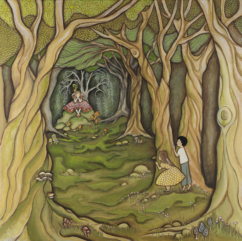 IN THE HALL OF THE MUSHROOM QUEEN 24X24  Acrylic on Gallery Canvas  SOLD   My brother and I were making believe in the woods behind our house, when we heard a voice talking low and ordering someone about. My brother and I crept quietly, and peaked from behind a tree. There on a mossy throne of rock, we saw the Mushroom Queen. We spied on her for half an hour arguing what to do, when suddenly we realized she was spying on us too!