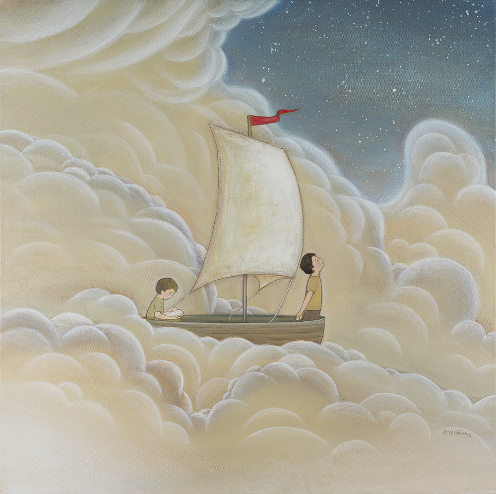 A GAP IN THE CLOUDS 20X20  Acrylic on Gallery Canvas  SOLD   fun to sail through the clouds? These two boys would be quick to say it's only fun if you know where you are. The clouds can be disorienting. Thankfully at this moment they're catching a glimpse of clear night sky.  I believe God loves people. I believe He loves me. But these beliefs are always slipping out of my mind. I'm distracted by everyday circumstances. I forget to truly love others and I forget that I'm truly loved. Reminders come into my days often—sometimes through the words of a friend or the lyrics of a song. These are like a gap in the clouds. They set me back on course and give me hope.