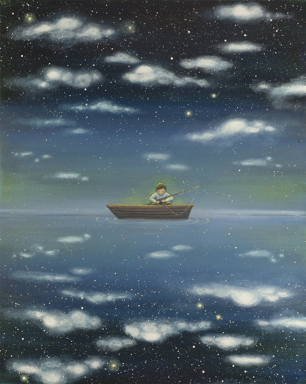 FISHING FOR STARS  20X24   Acrylic on Gallery Canvas  SOLD  A reflection lies between heaven and earth—smooth as a pool of glass. It's no wonder a boy mistook it for a lake. He came to the In Between searching for Bluegill Bream and Largemouth Bass. Won't he be surprised when he catches stars instead! Stars, moons... maybe even a world or two. Anything is possible in the In Between.