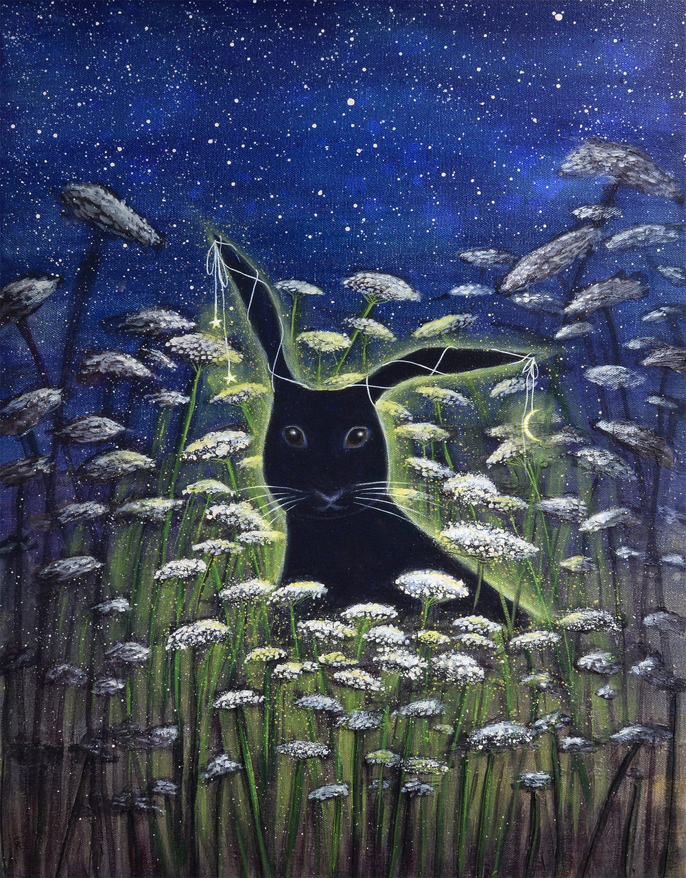 THE NIGHT RABBIT  18X24 Mixed-Media   Acrylic on Gallery Canvas  SOLD  I'm amazed at how a kind word, an inspiring story, or even just a good walk under tall trees can lift me up out of brooding, sad thoughts. One afternoon, as I was going for one of my long walks under tall trees, I was thinking about how suddenly darkness can lift—even when it seems like it could go on forever. That's when I envisioned The Night Rabbit. It immediately made me smile—that shadow-black bunny, with a shimmering glow of hope around him. He represents all those wonderful thoughts, and beautiful scenes that can sneak up on you even as you were right in the middle of a brooding, sad thought. I believe God sends those hopeful ideas and that's why they're powerful. I love The Night Rabbit!