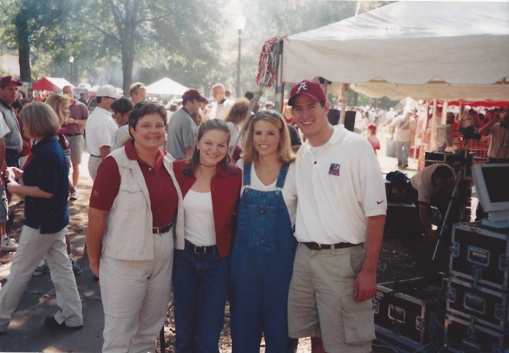 "My mom, me, one of my college roommates, and Jason on ""the quad"" before a game."