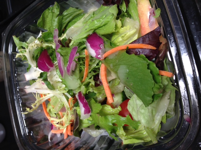 My Trader Joe's salad.  Warning: they're yummy but wilt very quickly sitting in the fridge.