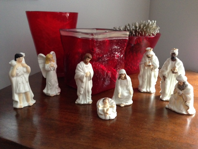 "My ""white man's nativity"" set.  Pretty sure Mary and Joseph didn't have golden brown hair."