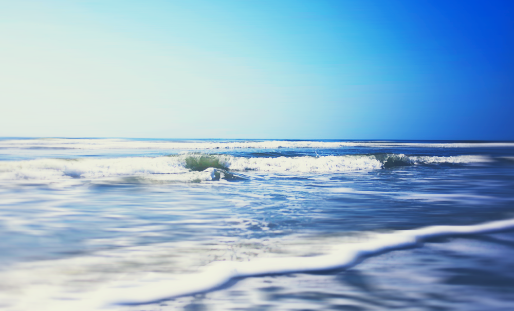 Sitting in the Surf. Oak Island, NC.