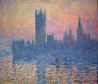 "Claude Monet's series of paintings ""Houses of Parliament"" is a favorite of mine. I feel blessed to have seen one in person. I may have touched it. I was young, and the daughter of a painter who told me paintings were meant to be touched. If I did touch it, it felt like the velvet dress of the lady of the lake, just as she emerged from the water. I probably didn't touch it though, so it's ok."