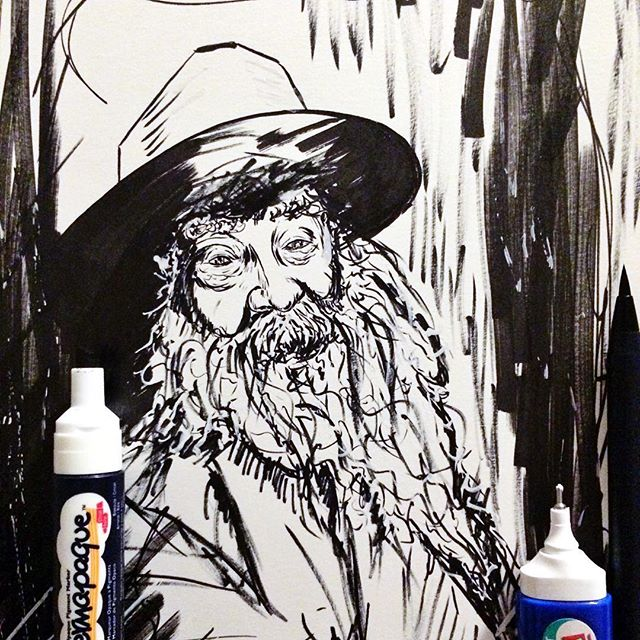 Your very flesh shall be a great poem. Whitman sketched onto bristol with ink. #wip #workinprogress #art  #drawing #sketch #penandink  #penandpaper #instaart #painting #watercolor #watercolorpainting #portrait #artist #portraitpainting #illustration #pentelbrushpen #mysketchbook #waltwitman #poet