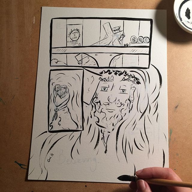 "Inking my sketches for mini comic ""Believing."" It's about seeing a guy dressed like Jesus walk by a sushi bar I was eating at, while thinking about when I was at that Journey concert the night before my Dad's heart was held outside of his chest by a surgeon. Inking entirely done with a dipped brush. #ink #comic #inking #inktober #watercolor #wip #illustration #autobiography #brush #painting #sketch #art"