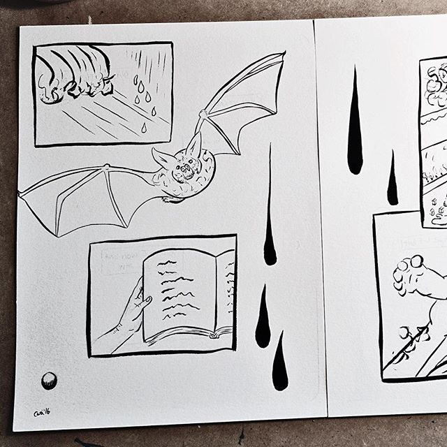 "Page five inks for mini comic ""Believing."" #ink #inking #inktober #watercolor #wip #illustration  #brush #painting #sketch #art #bat #book #rain"