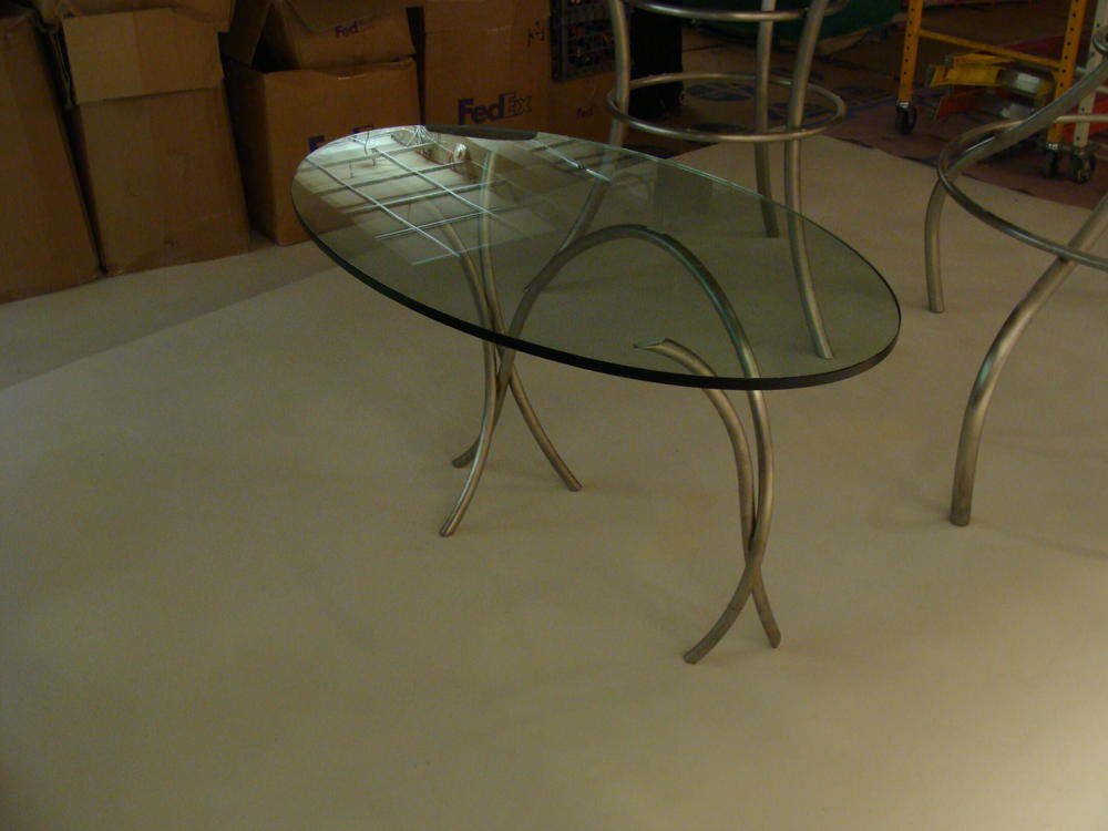 Glass top display table