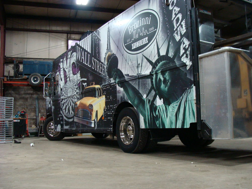 The Brozinni Pizzeria truck in the Jezroc Metalworks workshop.