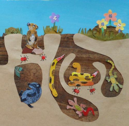 "Here's a peek of the ""Under the Earth"" page I illustrated.     For a children's book titled  I See the World  by Tom Luna."