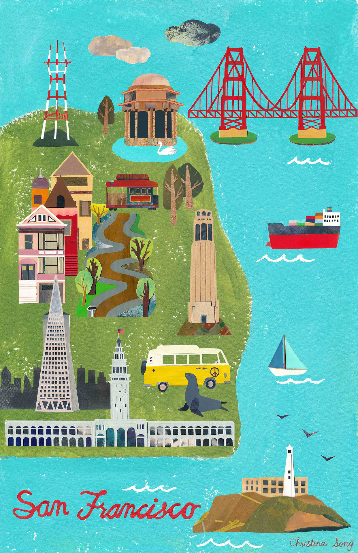 "Prints for this San Francisco map are in my  shop .      Size: 11""x17"" print with a minimum of 1/4"" border all around– a standard ready made frame size"