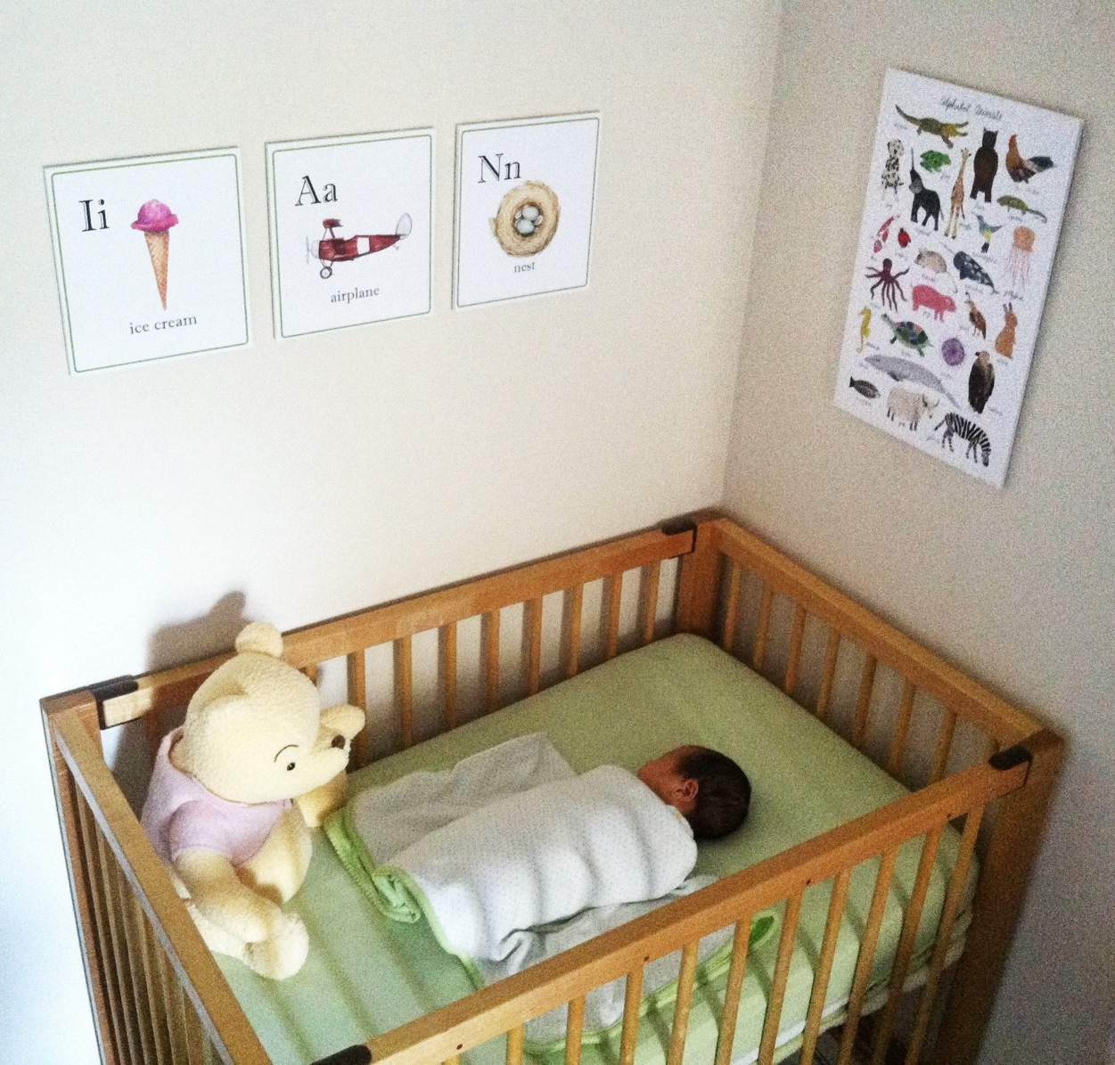My friend Tia just sent me this photo of her baby boy in his nursery. What a beautiful little soul.   And how special seeing my alphabet animals by Ian's bedside. Everything about this photo is pulling on my heart strings!!!   Just had to share.