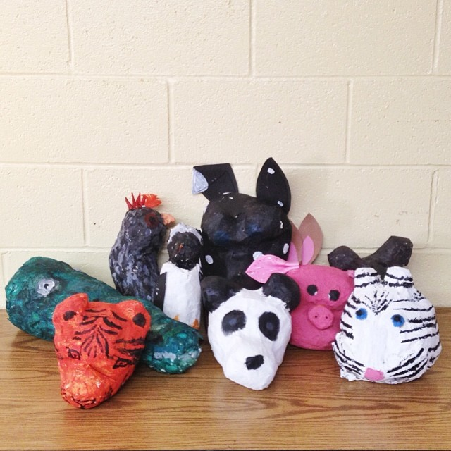 Teaching middle school art is so nostalgic. Some of us finished making papier-mâché animal busts! 🐊🐓🐰🐷🐯🐧🐼 #RCAart