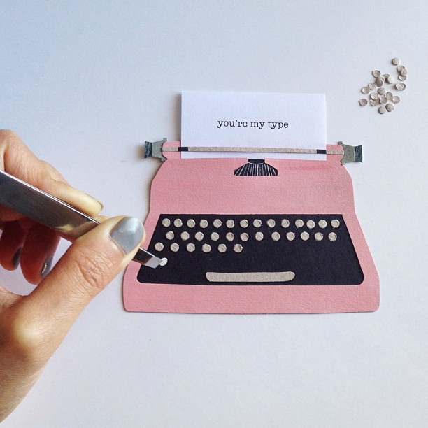 Adding paper button keys to another greeting card #inprogress #typewriter