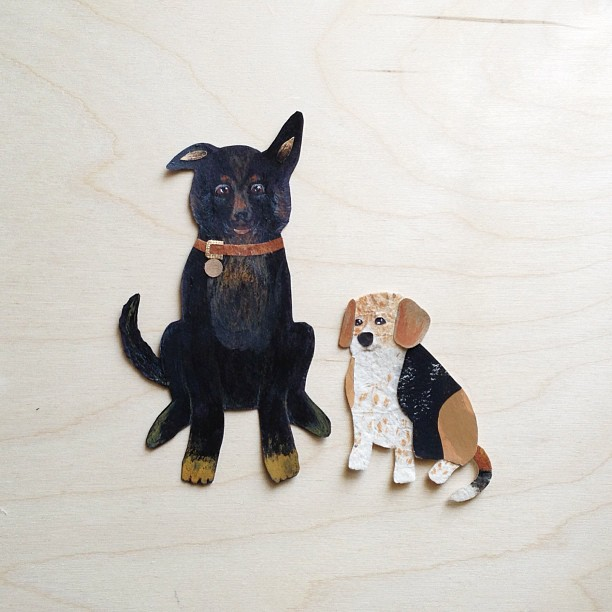So the pet portraits begin. This is Ender and Ruki. #paperart #illustration