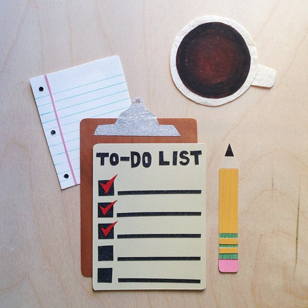 Each day, a cup of coffee and an agenda ✔ #cutpaper #paperart