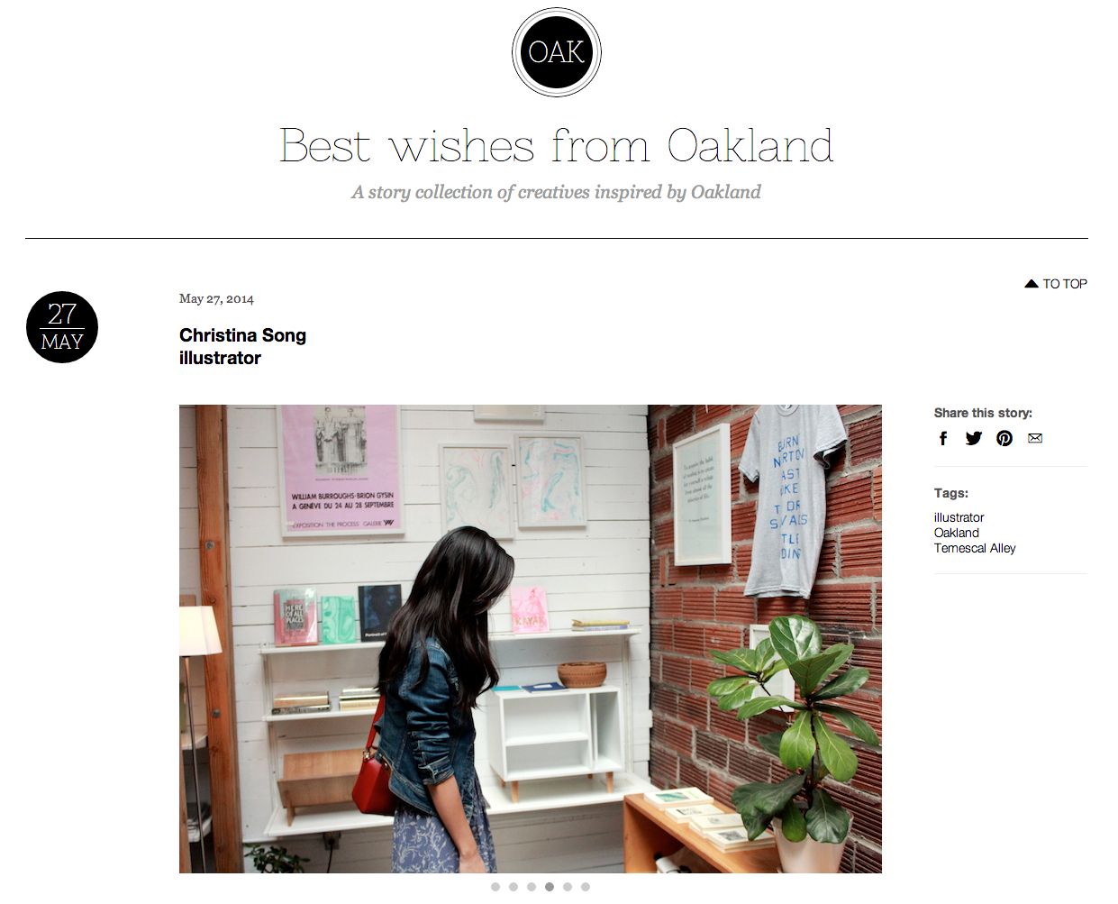 Best Wishes from Oakland  launched today and my story was the first to go live! Head on over to  http://bestwishes.com/oakland/  to read about my work/life in Oakland.    Much thanks to Shannon David for interviewing and photographing me. And thanks to Jessica, the creator and Berlin editor, for featuring me. It's so exciting to be included amongst the other creative folks on Best Wishes!