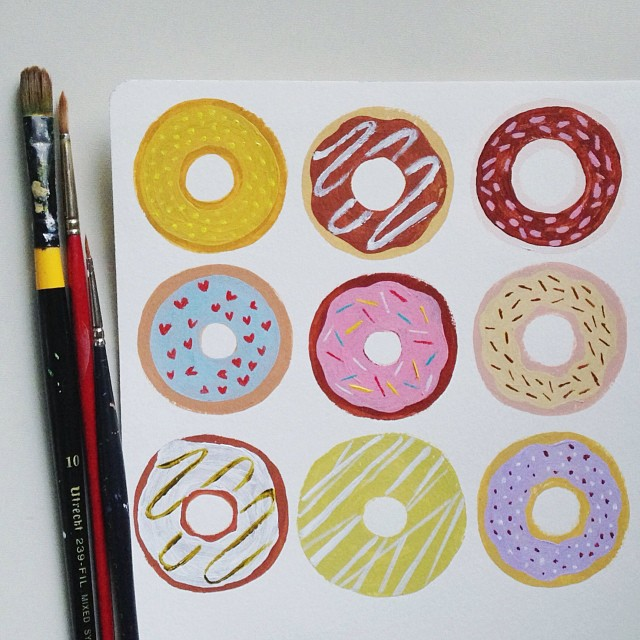 Donut birthday card in progress. One more card and off to the printers they go.