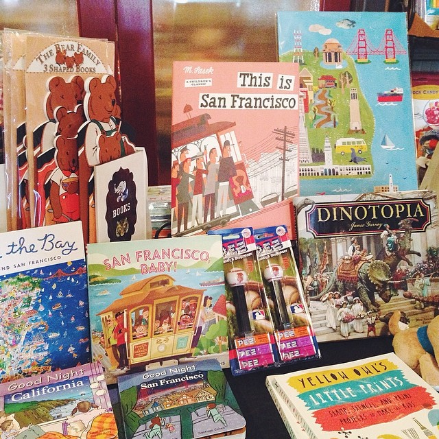 SF print sighting by the children's section at Myrtle's Lodge (gift shop for Fenton's Creamery)    4211 Piedmont Ave, Oakland, CA 94611