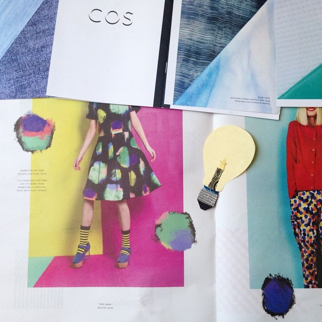 Trying to finish up a project! So many great colors and textures in these Marimekko & COS catalogs #cutpaper #workinprogress