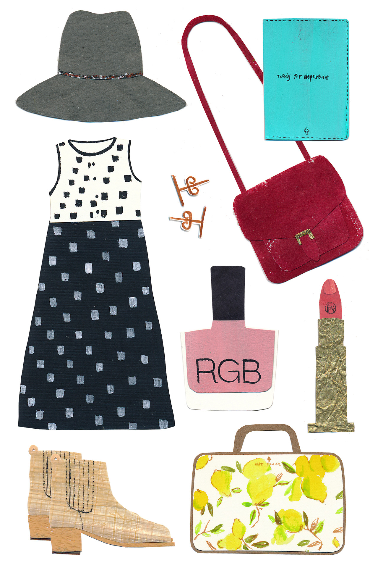 "At last, my spring wish list! This concludes my ""wish list"" series.     Eugenia Kim Farrah Floppy Hat ,  Ace & Jig Cliff Dress-Hopscotch ,  BRVTVS Vectis Earrings ,  Kate Spade Bon Voyage Passport Holder ,  APC Shoulder Bag ,  RGB Nail Polish ,  Lipstick Queen Velvet Rope lipstick ,  Loeffler Randall Fitz Chelsea Boots ,  Kate Spade Limoncello make-up bag .    In case you missed it:  summer ,  fall ,  winter"