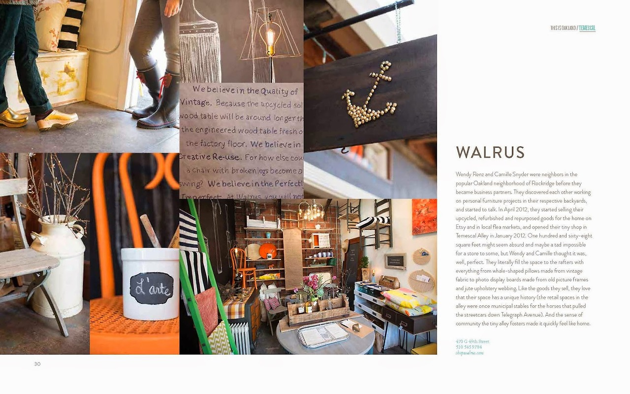 "Shop Walrus in Temescal Alley has included me in their newsletter as their featured July artist. My work is currently up in their gallery for the whole month if you'd like to check it out. The show ends on July 29th.  Address: 470G 49th St. Oakland, California Hours: Wednesdays 12-4pm, Thursday-Sunday 11am-5:30pm  [Image of Walrus from: ""This is Oakland: A Guide to the City's Most Interesting Places"" by Melissa Davis]"