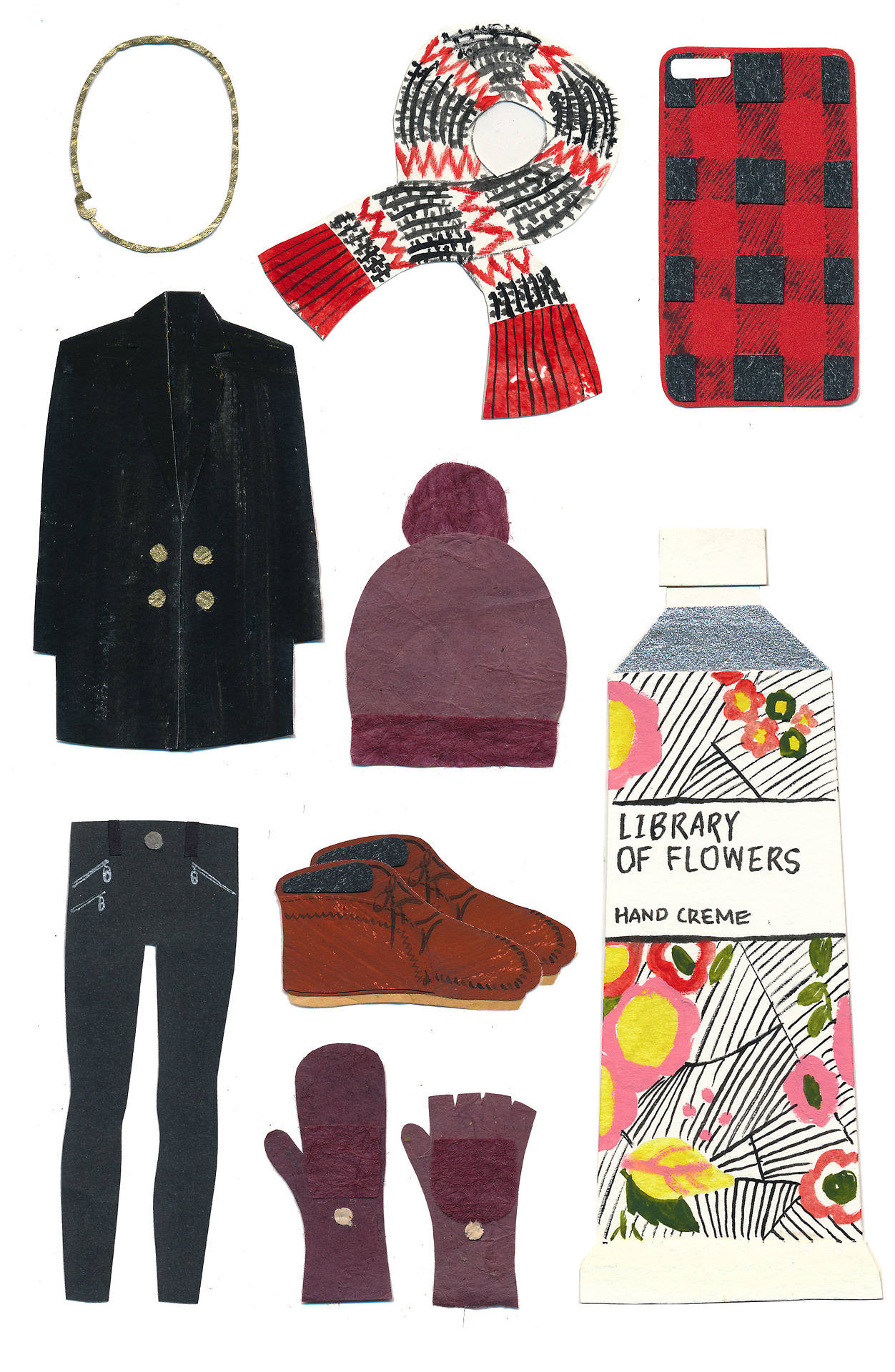 My winter wish list is here! Love this time of the year.  Asymmetrical Letter Necklace, Jcrew Zigzag Scarf, Rubber iPhone Case, made up black coat, Topshop Pompom Beanie, Rag & Bone Jeans, Minnetonka Suede Boots, Madewell Merino Ribbed Gloves, Library of Flowers hand creme In case you missed it:  Summer & Fall Wish Lists