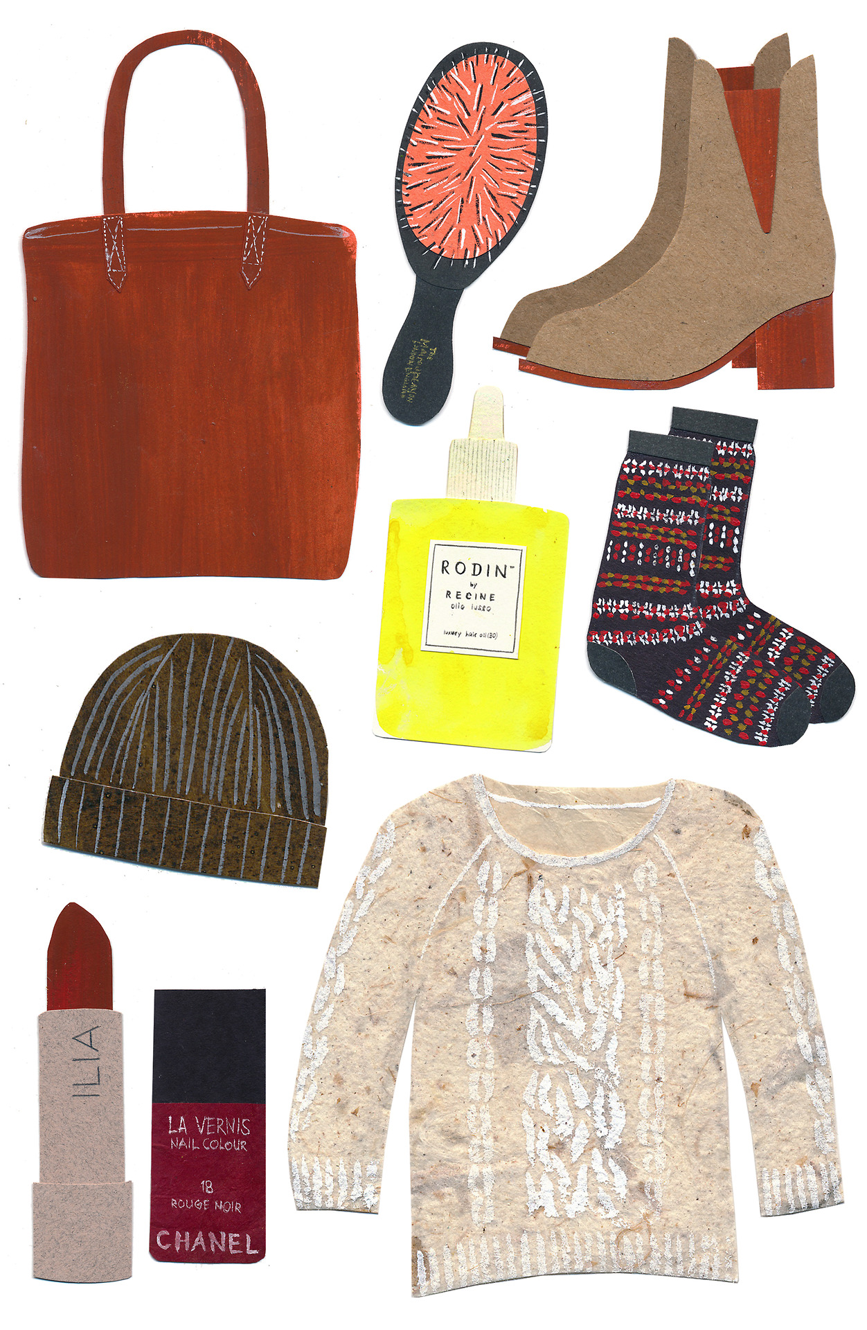 My fall wish list is here! So excited for this season. xo   (Left to right)    Madewell Transport Tote ,  Mason Pearson Hair Brush ,  Zara Boots ,  Rodin Hair Oil ,  Bleuforet Wool Socks ,  Steven Alan Beanie ,  ILIA lipstick ,  Chanel Rouge Noir ,  Nili Lotan Cable Raglan Sweater    In case you missed my summer wish list,  here  it is.