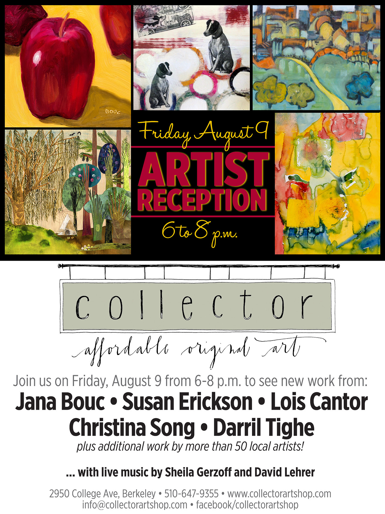 Bay Area,   I am going to be a part of a group show at Collector Art Shop in Berkeley if you'd like to come out to the artist reception early August. There will be live music, food, wine, and of course a bunch of artwork to look at.   I'll be showing some old work and some new ones. And not to worry if you can't make it– it'll be up for a month if you're interested in stopping by.