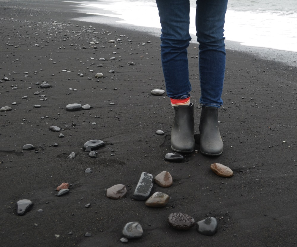 Black sand beaches.