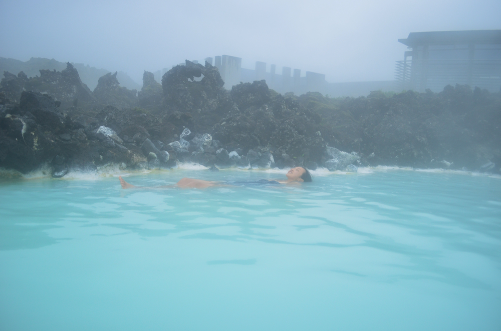 Swimming in the Blue Lagoon. It's the saltiest, milkiest, and hottest water ever!