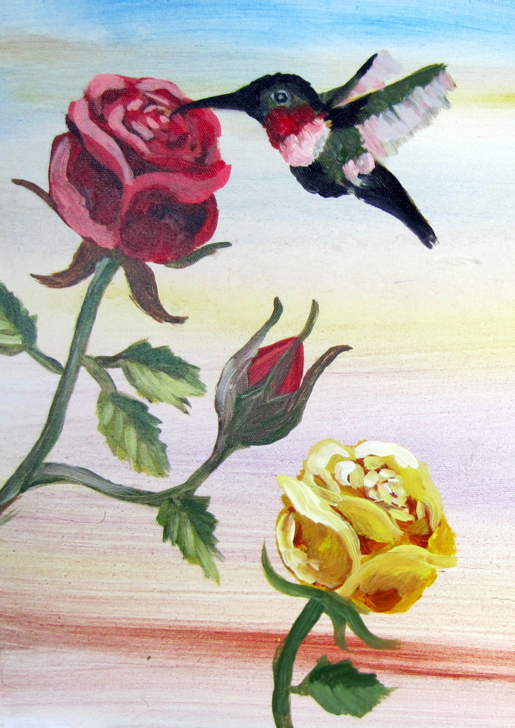 Roses with a Hummingbird
