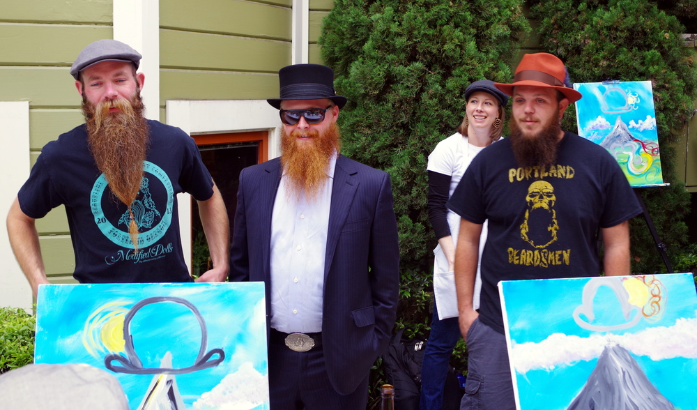 The Portland Beardsmen during the hat fashion show!