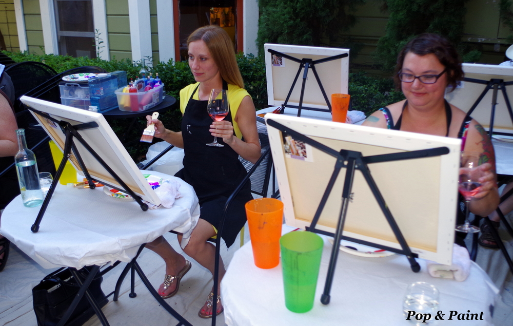 Love it!  Wine glass in one hand, paint brush in the other!  That's how we paint!