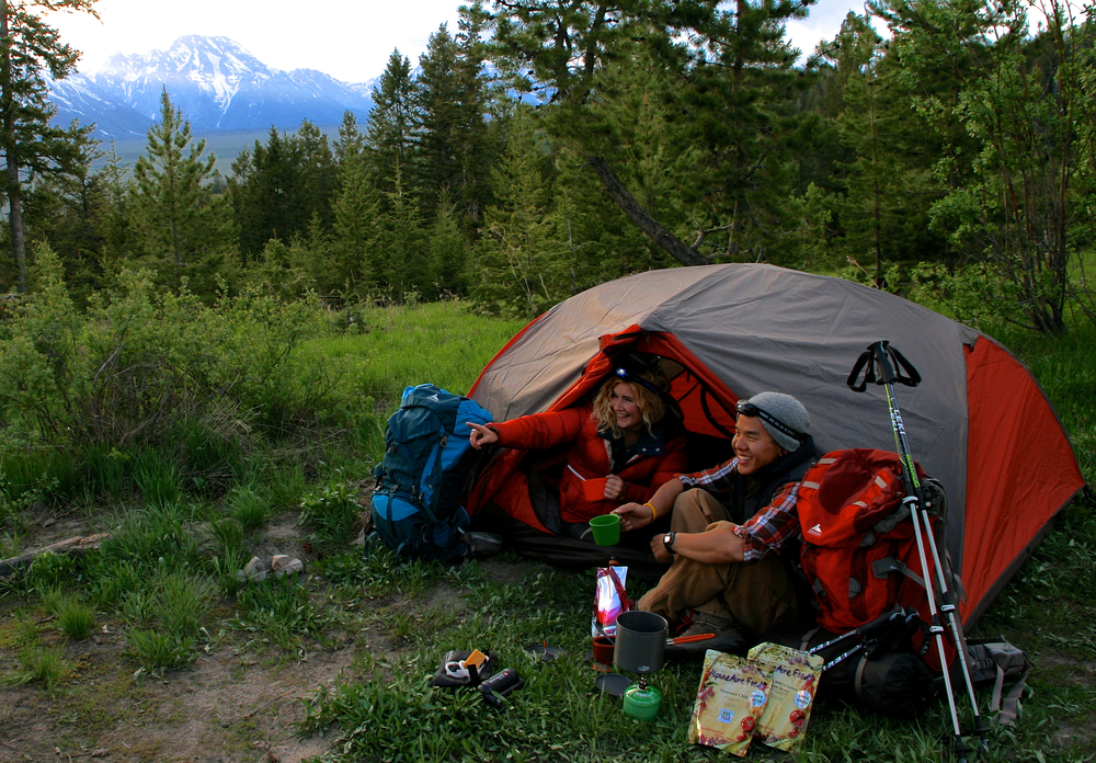 looking into the distance with tent, stove, food, headlamps, etc.jpg