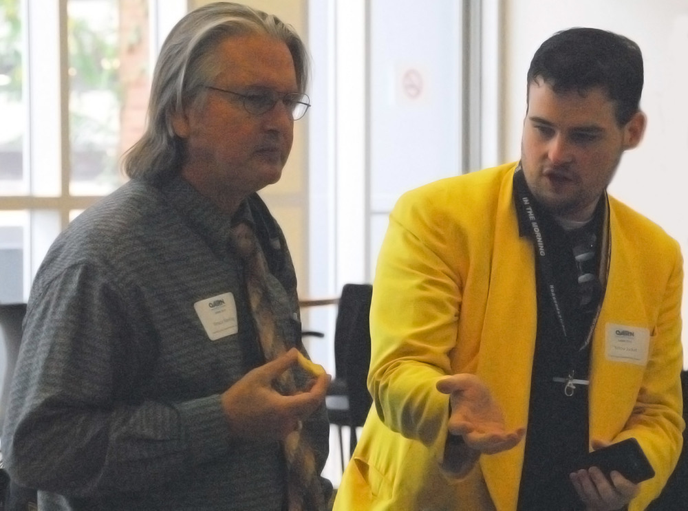 Interviewing fellow journalist Bruce Sterling. Covering events such as technology, information security, and emergency management