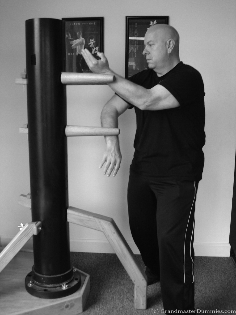 Sifu Tony Massengill trains with a Grandmaster Dummy