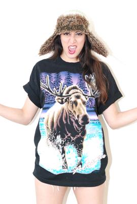 Vtg 90's Alaska Moose T shirt  $35